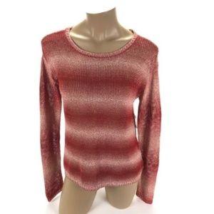 ❣Alice + Olivia Women's Red White Knit Long Sleeve